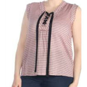 William Rast striped lace up top